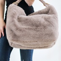 Faux Fur Hobo Purse