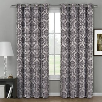 Gray Aryanna Jacquard Grommet Top Curtain Panel Pair (Two Panels )
