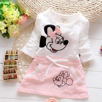 New Children Splicing Baby Mini Dresses Short Sleeved Minnie Print Pattern Baby 100% Bure Cotton Dress