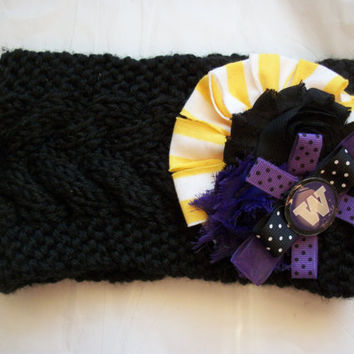 Women's Knit University of Washington UDUB Huskies Ear Head Warmer Crochet Headband