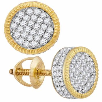 10kt Yellow Gold Mens Round Diamond 3D Circle Cluster Stud Earrings 7-8 Cttw - FREE Shipping (US/CAN)