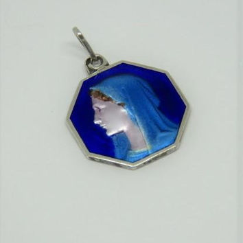 Antique French, Art Deco, Blue Enamel And Silver, Rare, Quality, Virgin Mary, Pendant, Hallmarked, SHIPPING INCLUDED