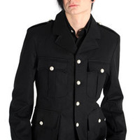 Army Jacket Denim Black - Gothic, industrial, steam punk coats