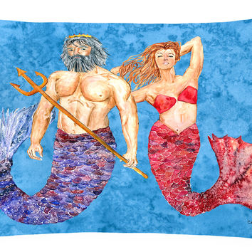 Mermaid and Merman   Canvas Fabric Decorative Pillow