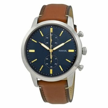 Fossil Mens FS5279 Brown Leather Strap with Blue Dial Watch
