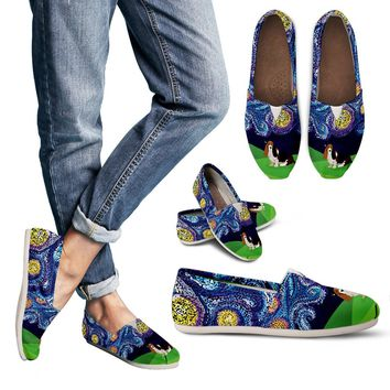 Starry Night Basset Hound Casual Shoes
