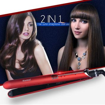 KM-2205 Portable 2 in 1 LED Straightening Curling Iron Ceramic Hair Straightener Electric Flat Iron Fast Hair Curler Stylish P00