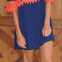 Off Shoulder Dress -Navy/Orange