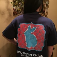 SALE Southern Chics Sassy Classy Collection Preppy Bunny Rabbit Distressed Bright T Shirt