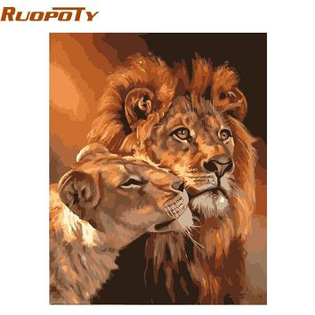RUOPOTY Frame The Lion Animals DIY Painting By Numbers Acrylic Wall Art Picture Hand Painted Oil Painting Unique Gift 40x50cm