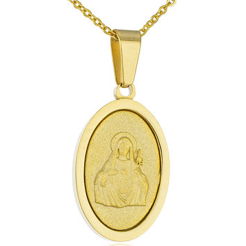 Stainless Steel 19 Inch Adjustable Necklace with Our Lady of Sacred Heart Pendant (Goldtone)
