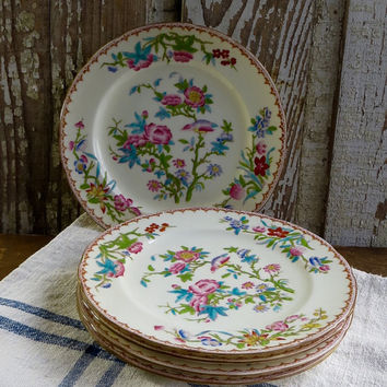 Vintage Minton Hand Painted Plates, Pink and Blue Flowers, Cuckoos, Dessert, Dinnerware, China Dishes, Orientalia Tableware, Set of Five