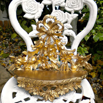 Vintage Italian Shelf,  Wall Shelf, French Swag, Flower Bouquet, Gold Italian Flowers, Vintage Toleware, Barbola, Shabby Tole