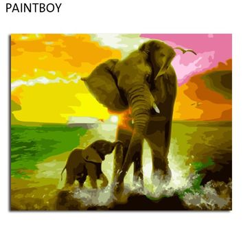 PAINTBOY Elephant Framed Painting By Numbers Of Animal DIY Oil Painting On Canvas Home Decor For Living Room g 40*50m Wall Art