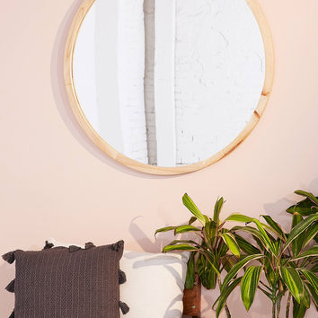 Anni Oversized Wooden Circle Mirror | Urban Outfitters