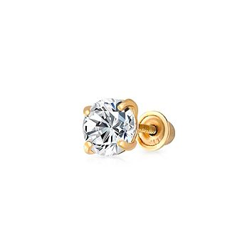 .25CT Round Cubic Zirconia Solitaire CZ Stud Cartilage Earring REAL 14K Gold