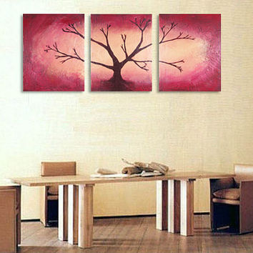 """wall sculpture Painting Textured art Abstract tree artwork """"Red Wood"""" 54 x 24 """" scenery pictures impasto painting impasto art wall hanging"""