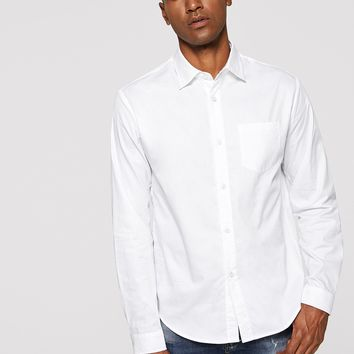 Men Pocket Patched Solid White Shirt