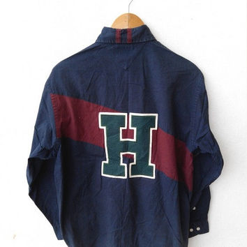 CLEARANCE SALE 25% 90's Vintage TOMMY Hilfiger Buttondown Blue Shirt Polo Hip Hop Size S