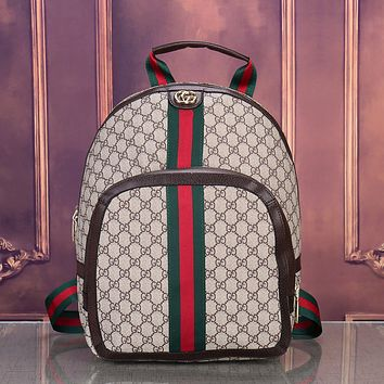 Vintage GUCCI Casual School Bag Leather Backpack 1823