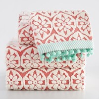 Coral and Aqua Foulard Sculpted Towel Collection