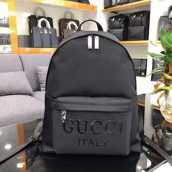 Gucci Men's Nylon Canvas And Leather Backpack Bag #28881 - Best Deal Online