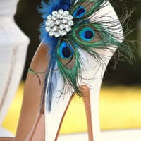Shoe Clips Statement Peacock Fan Couture Bride by sofisticata
