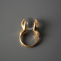 Mid Century Trifari Crystal Ball Ring