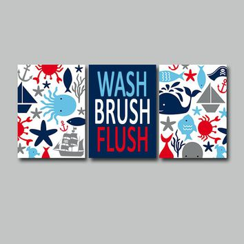 PIRATE BATHROOM Wall Art, PIRATE Canvas or Prints, Nautical, Sea Life Animals Bath, Ocean Theme, Boy Wash Brush Flush Rules, Set of 3