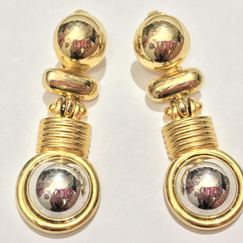 Gold and Silver Tone Clip On Earrings / 1970s Mid Century Dangling Earrings / Vintage Costume Jewelry Earrings / Gaudy Flashy Gold Earrings