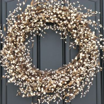 Shabby Chic Wreath - Cream Berry Wreath - Summer Wreath - Year Round Door Decor