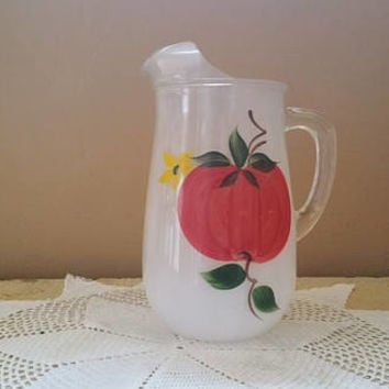 Gay Fad Glass Tomato Pitcher Frosted White Glass