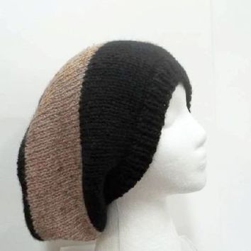 Slouchy hat black and tan hand knitted 5218