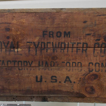 Royal typewriter Shipping Crate,  Box, original shipping container, display box  Crate  Rustic  Primitive