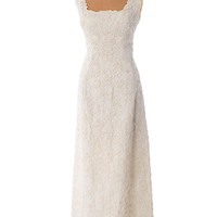 60's Ivory Soutache Embroidered Lace Maxi Wedding Dress
