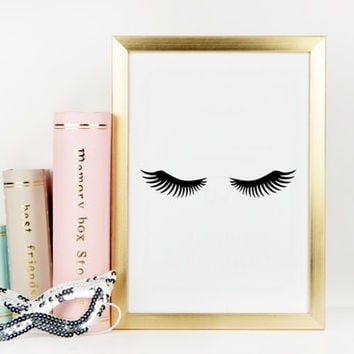 LASHES DIGITAL ART,Lashes Print,Bedroom Wall Art,Bathroom Print,Makeup Print,Nursery Print,Girl Room Decor,Printable Art,Fashion Print