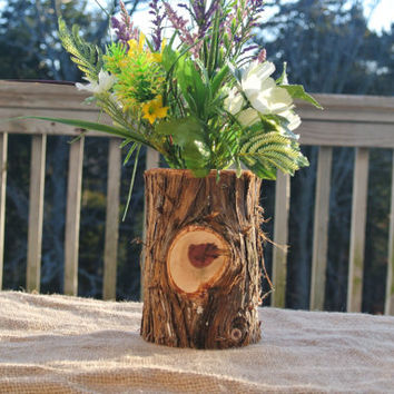 Rustic Home Decor, Log Vase, Office Decor, Log Cabine Decorations