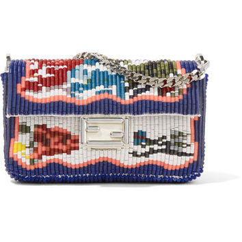 Fendi - Baguette micro embellished leather shoulder bag