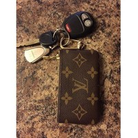 LV Louis Vuitton Fashion Logo Print Leather Key Pouch I