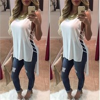 Summer Women Loose Solid Tops Sexy Hollow out Blouses O-neck Sleeveless Blouse Shirt