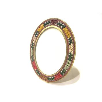 Italy Micro Mosaic Oval Picture Frame by Neiman Marcus Brass Self Stand