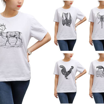Women Animals Hand Drawing-4 Printed Round Neck Short Sleeves T- Shirt WTS_17