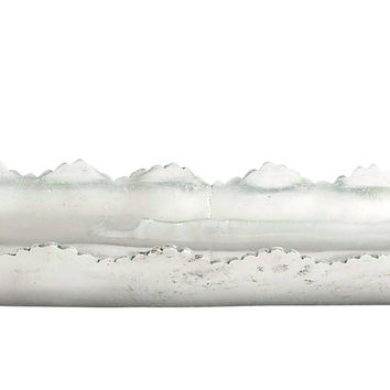 Contemporary Aluminum Serving Tray Featuring Matted Leaf Design With Jagged Edge