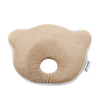 Mittagong Infant Head Support Prevent Flat Memory Foam Baby Pillow,Coffee