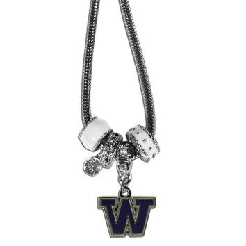 Washington Huskies Necklace - Euro Bead