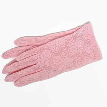 Vintage Lace Gloves - NOS Unused - 60s 1960s - Pink Lace - XS Small Size 7 - Party | Wedding | Gift