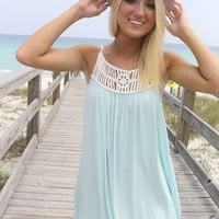 Saltwater & Clear Skies Cream Woven Straps Caged Light Blue Dress