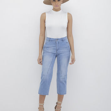 CALI GIRL DISTRESSED DENIM CULOTTES