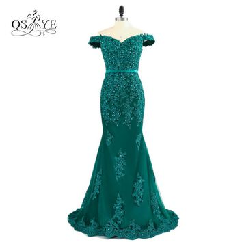 Teal Green Off The Shoulder Prom Dresses 2017 Modest Robe De Soiree Mermaid Style Beading Tulle Formal Evening Gowns Party Dress