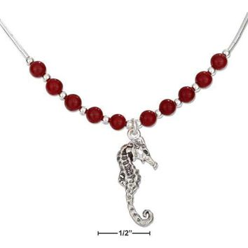 """Sterling Silver Necklaces: 16"""" Red Carnelian Beads With Antiqued Seahorse Necklace"""